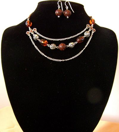 fashion jewellery pls -      ROSES - 2 PIECE SET HN 007