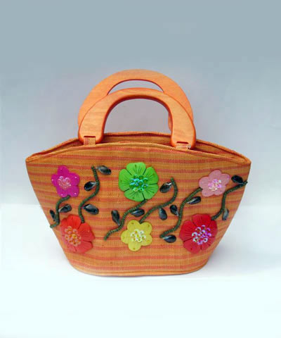 josephine's jewels - ORANGE WITH FLOWERS HANDBAG 175-02